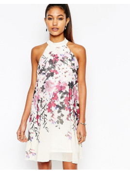 Lipsy High Neck Babydoll Dress In All Over Floral Print - Cream multi