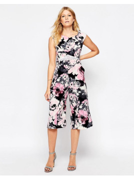 Liquorish Culotte Jumpsuit with Lace Insert in Floral Print - Pink floral print