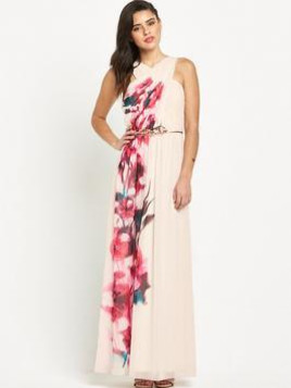 Little Mistress Printed Crossover Maxi Dress
