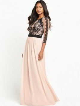 Little Mistress Three Quarter Sleeve Lace Mesh Maxi Dress