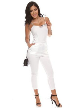 LolliCouture white spaghetti straps stretchy sweetheart neck jumpsuit