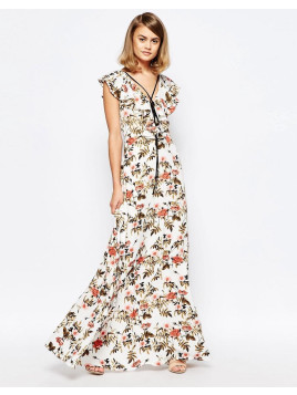 Lost Ink. Ruffle Waterfall Dress With Lace Up Detail In Floral Print - Multi