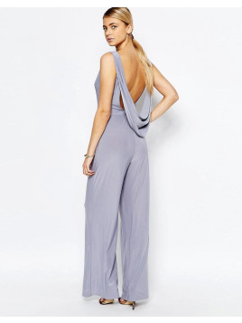 Love Cowl Back Wide Leg Jumpsuit - Grey