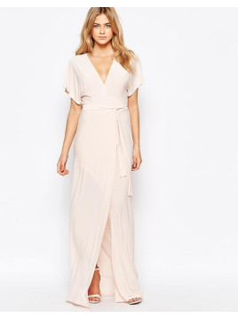 Love Plunge Tie Front Split Maxi Dress - Nude