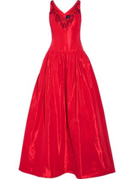 Marchesa Embellished Faille Gown - Red