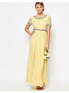 Maya Deep Back Maxi Dress with Full Skirt and Embellishment - Pastel yellow