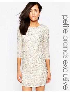 Maya Sequin Bodycon Dress With Cowl Back - Cream