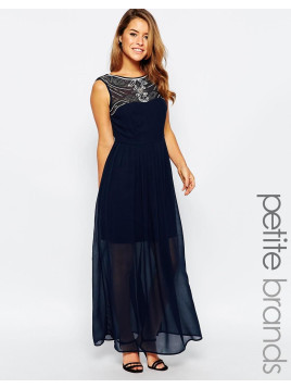 Maya Maxi Dress With Embellished Neckline - Navy