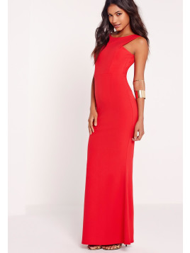 Missguided Low Back Maxi Dress Red