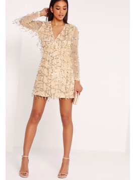 Missguided Sequin Mini Dress Gold