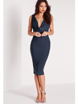 Missguided Slinky Cowl Front Sleeveless Midi Dress Navy