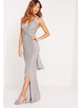 Missguided Slinky Multiway Maxi Dress Grey