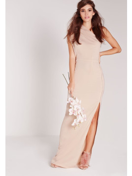 Missguided Zip Detail One Shoulder Maxi Dress Nude