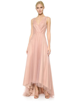 Monique Lhuillier High Low Tulle Dress - Shell