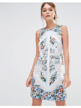 Oasis Patchwork Floral Shift Dress - Multi blue