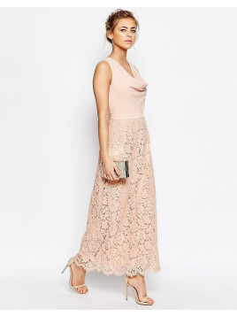 Oasis Premium Lace Cowl Neck Maxi Dress - Nude