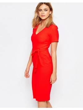 Oasis Wiggle Belted Dress - Chilli red