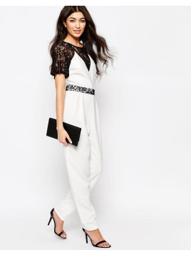 Paper Dolls Jumpsuit With Lace Sleeves - White