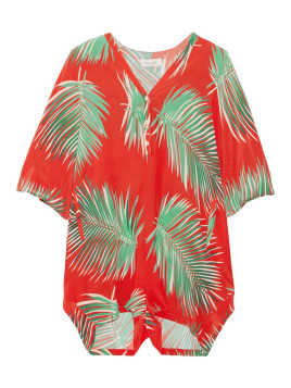 Paul & Joe Printed Silk Playsuit, Tomato Red, Womens, Size: 42