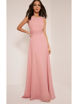 Pretty Little Thing Caitlan Dusty Pink Lace Insert Maxi Dress-10, Dusty Pink