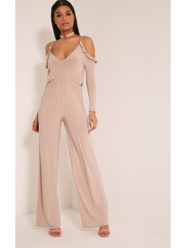 Pretty Little Thing Krisha Stone Frill Detail Cold Shoulder Jumpsuit-10, White
