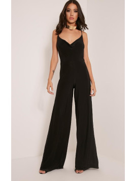 Pretty Little Thing Lidiah Black Cowl Front Scoop Back Jumpsuit-12, Black