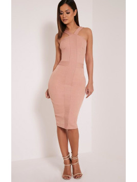 Pretty Little Thing Meryl Nude Bandage Strap Detail Bodycon Dress-12, Pink