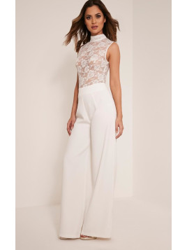 Pretty Little Thing Miley White Sleeveless Lace Top Jumpsuit-10, White