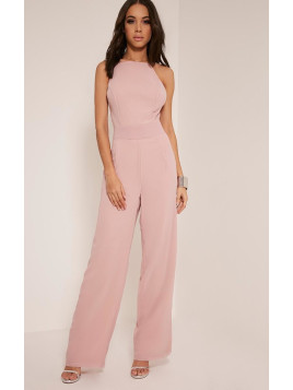 Pretty Little Thing Teeah Dusty Pink High Neck Jumpsuit-12, Dusty Pink