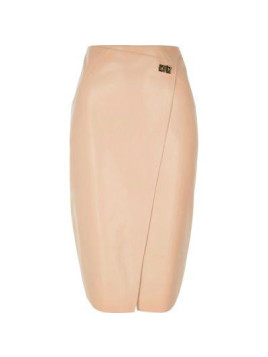 River Island Womens Pink leather look wrap pencil skirt