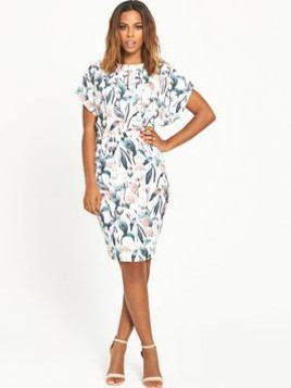 Rochelle Humes Keyhole Front Printed Pencil Dress