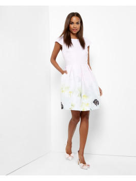 Ted Baker Pearly Petal pleated dress Nude Pink