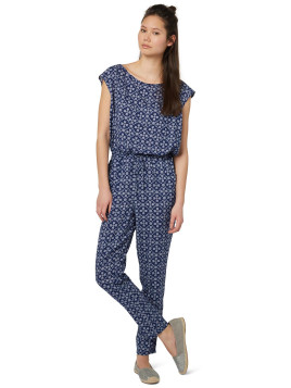 Tom Tailor DENIM Overall gemustert, Jumpsuit, Damen, blau, Viskose