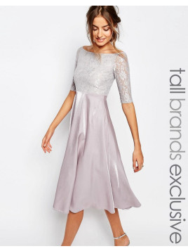 True Decadence Lace Bardot Midi Prom Dress - Soft grey