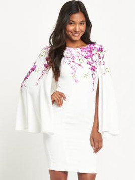 Very V By Very Orchid Print Cape Dress