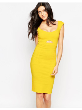 Vesper Sienna Midi Dress with Keyhole Cut-Out - Yellow