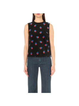 Victoria Beckham Strawberry-Print Velvet Top, Womens, Size: 8, Scattered Strawberry