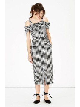 Warehouse Gingham Off Shoulder Dress