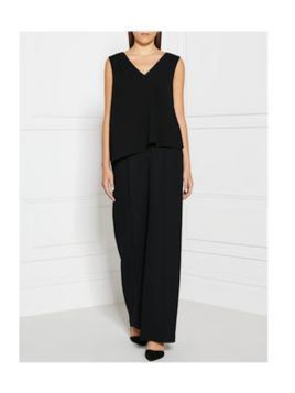 Whistles Drape Front Slouch All In One Jumpsuit - Black, Size 10