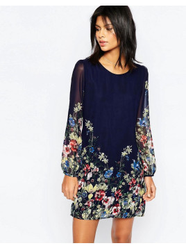 Yumi Long Sleeve Shift Dress In Border Floral Print - Navy