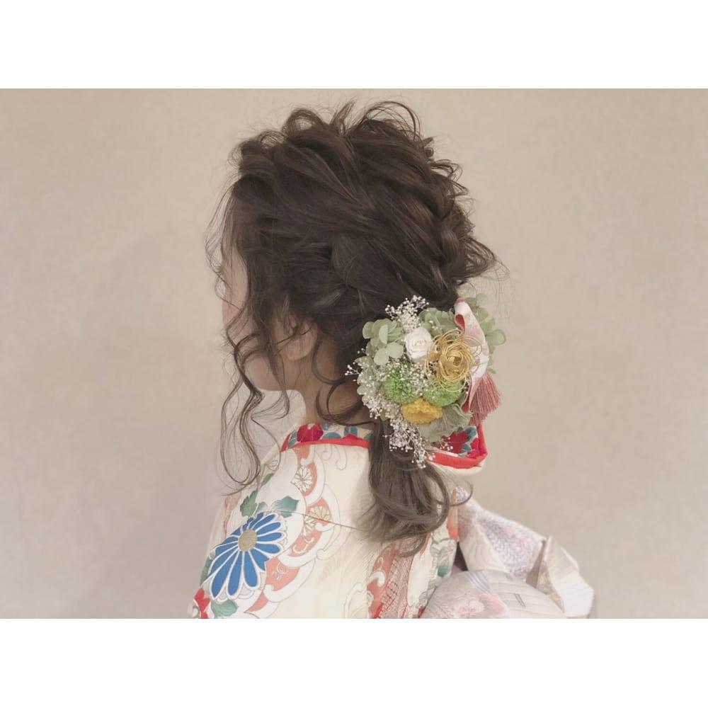 成人式 髪型 ミディアム ハーフアップ