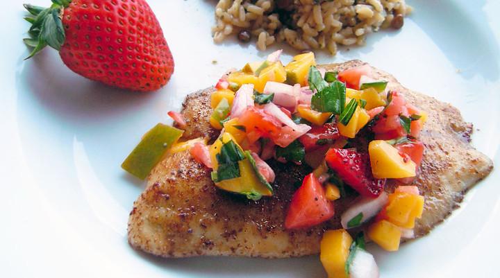 Tilapia with Mango-Strawberry Salsa