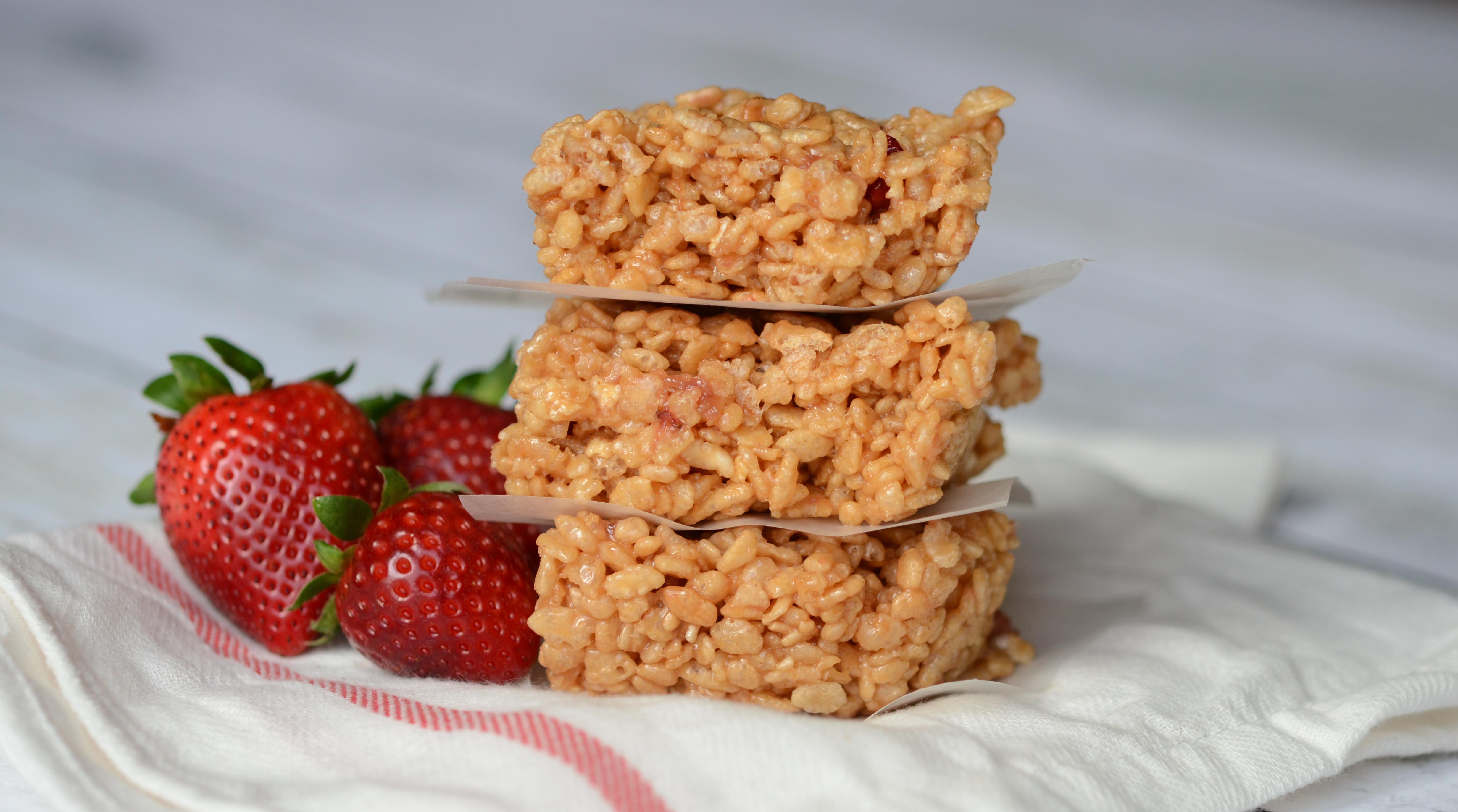 Strawberry Peanut Butter Rice Krispie Treats