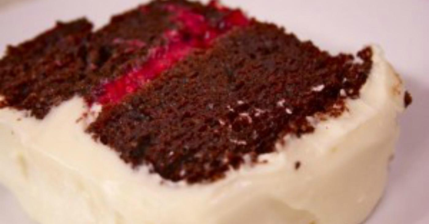 Chocolate Cake With Raspberry Filling And Cream Cheese