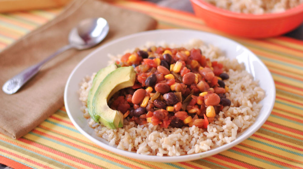 Slow Cooker Veggie Taco Chili with Brown Rice