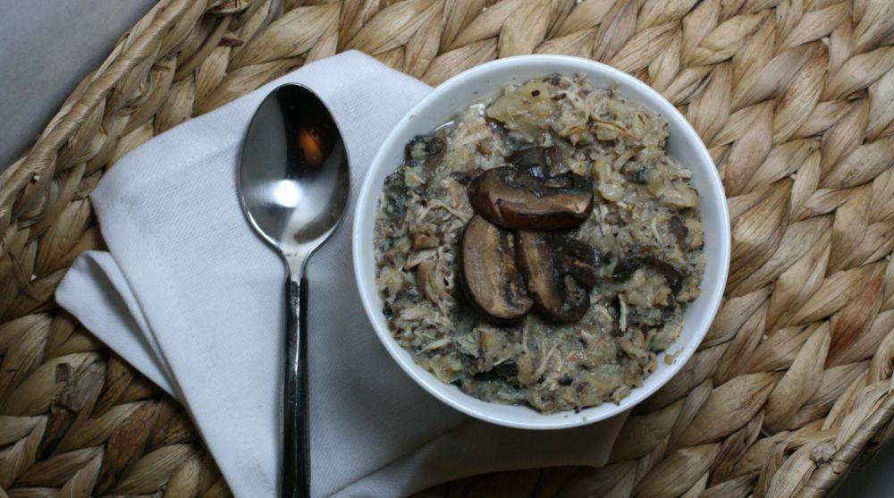 Paleo Creamy Chicken Mushroom Roasted Cauliflower Soup