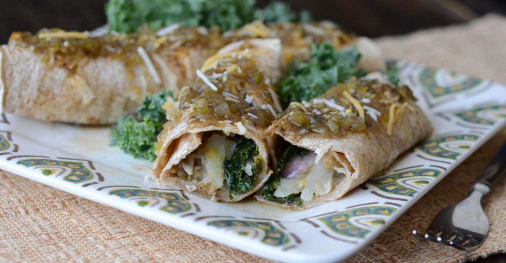 Salsa Verde Kale Enchiladas