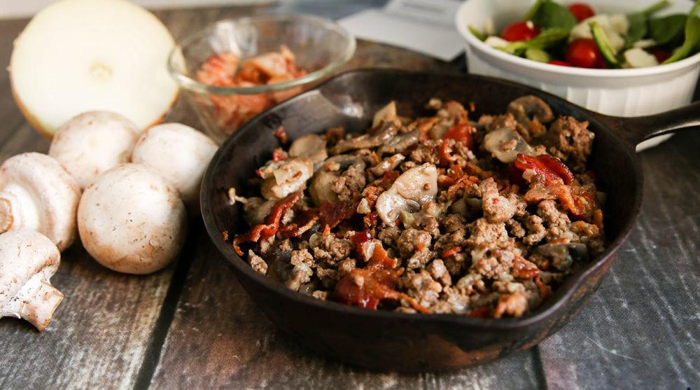 Unstuffed Bacon-Beef Mushrooms