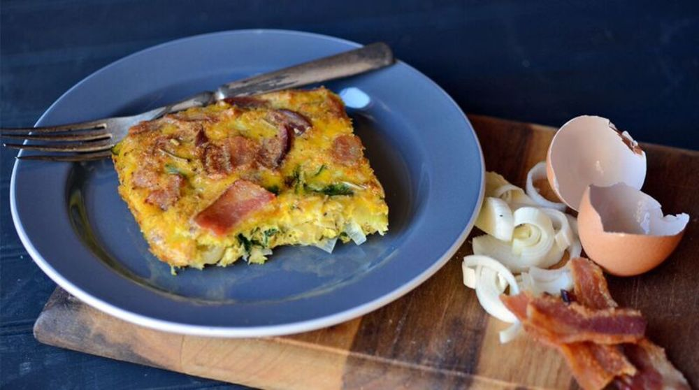 Bacon and Leek Egg Casserole