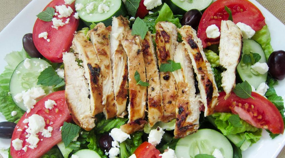 Marinated Mediterranean Chicken Greek Salad- Dinner Version